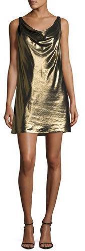Haute HippieHaute Hippie Morton Lamé Cowl Slip Dress, Gold