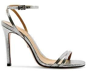 Schutz Women's Altina Metallic Lizard-Embossed Leather Ankle Strap Sandals