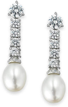 Arabella Bridal Cultured Freshwater Pearl (8mm) and Swarovski Zirconia (3-5/8 ct. t.w.) Drop Earrings in Sterling Silver