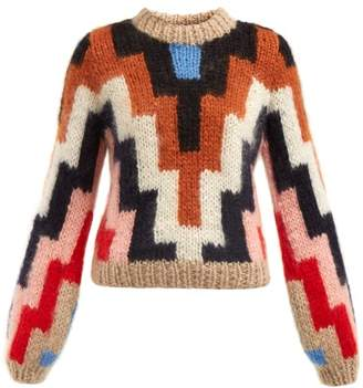 Ganni Julliard Geometric Mohair And Wool Blend Sweater - Womens - Brown Multi