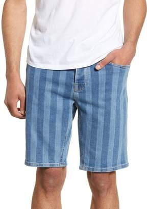 Topman Skinny Fit Stripe Denim Shorts