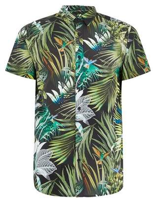 Topman Mens Green SELECTED HOMME Black Tropical Short Sleeve Shirt