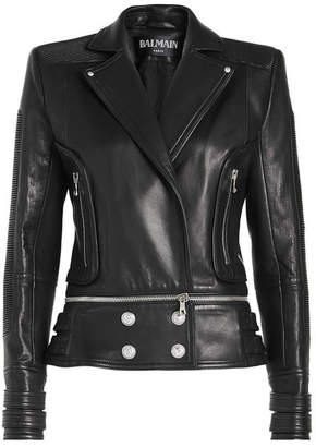 Balmain Leather Jacket with Embossed Buttons