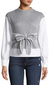 Ribbed Sweater/Poplin Combo Shirt