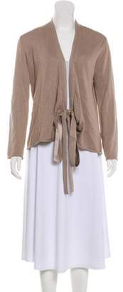 Burberry Silk-Blend Wrap Cardigan Khaki Silk-Blend Wrap Cardigan