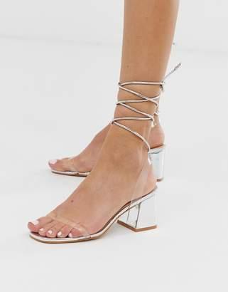 Public Desire Tomorrow silver metallic ankle tie mid heeled sandals