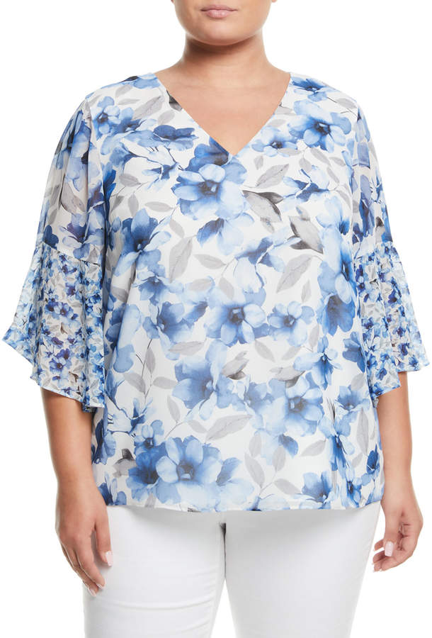 Iconic American Designer Floral Bell-Sleeve Blouse, Plus Size