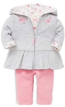 Little Me Girls' Bountiful Rose-Embroidered Ruffled Hoodie, Polka-Dot Tee & Leggings Set - Baby