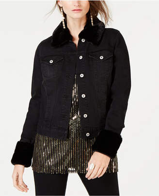 INC International Concepts I.n.c. Leopard-Print Faux-Fur Trim Denim Jacket