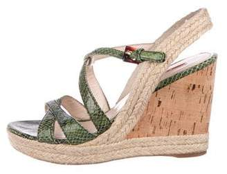 Prada Sport Embossed Cork Wedges
