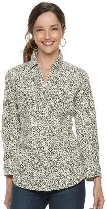 Croft & Barrow Women's Paisley Knit-to-Fit Shirt