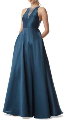 ML Monique Lhuillier Mesh Inset Ball Gown