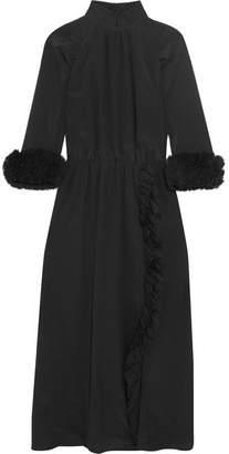 Ruffled Silk Crepe De Chine Midi Dress - Black