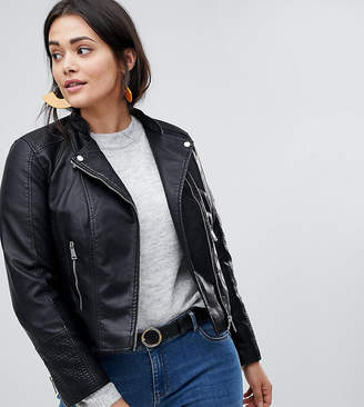 Vero Moda Curve Leather Look Biker Jacket