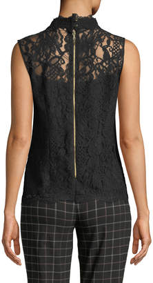 Nanette Lepore Nanette Stand-Collar Lace Sleeveless Blouse