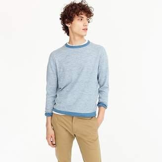 J.Crew Cotton-linen crewneck sweater in heather microstripe