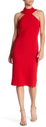 Bebe Mock Neck Strappy Crepe Dress