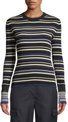 745593079192 3.1 Phillip Lim Multi Striped Silk Cotton Pullover Sweater