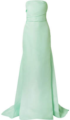 Monique Lhuillier Silk Strapless Gown - Mint