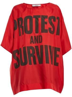 Katharine Hamnett London - Protest And Survive Print Silk T Shirt - Womens - Red Multi