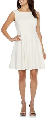 J Taylor Sleeveless Glitter Fit & Flare Dress