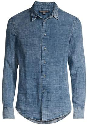 7c0d4bf9 John Varvatos Long-Sleeve Windowpane Denim Button-Down Shirt
