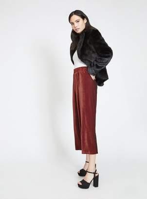 Miss Selfridge Velvet striped wide leg trousers
