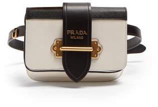 Prada Cahier Leather Belt Bag - Womens - White Black