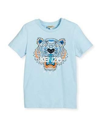 Kenzo Short-Sleeve Cotton Jersey Logo Tee, Light Blue, Size 8-12 $65 thestylecure.com
