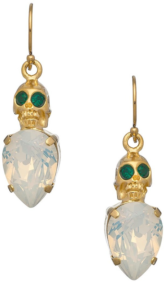 Swarovski Michael Spirito Gold Skull With Opal Cabochon Earrings