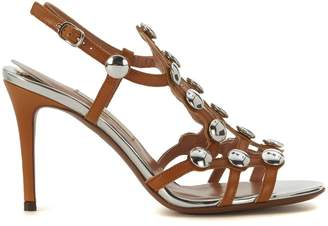 L'Autre Chose Sandy Ochre Leather Heeled Sandal With Silver Buttons
