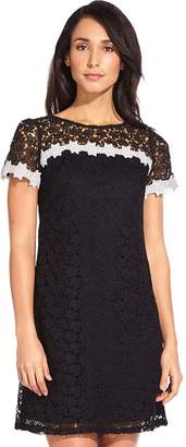 Adrianna Papell Ditsy Black Floral Lace Shift Dress
