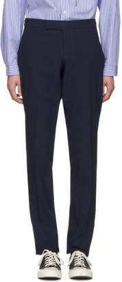 Thom Browne Navy Low-Rise Skinny Side Tab Trousers