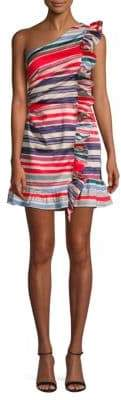 Red Carter Ruffled Striped Shift Dress