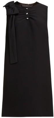 Miu Miu Crystal Embellished Ruched Crepe Shift Dress - Womens - Black