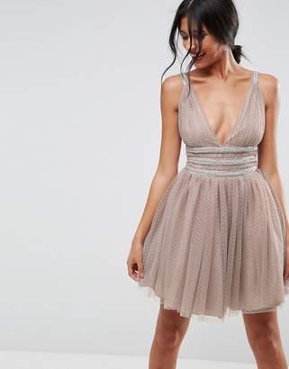 Asos Design Tulle Strappy Embellished Mini Skater Dress
