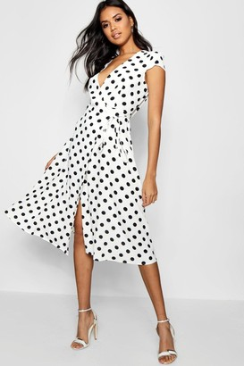 boohoo Boutique Olivia Polka Dot Wrap Dress