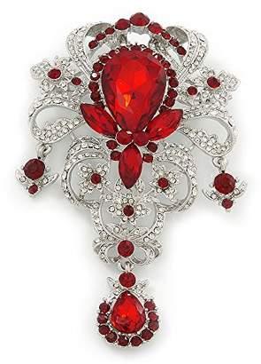 Avalaya Statement Clear/ Ruby Colou CZ Crystal Charm Brooch In Rhodium Plating - 11cm Length