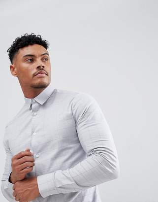 New Look Muscle Fit Shirt In Grey Check