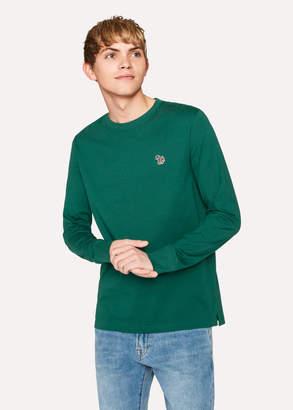 Paul Smith Men's Bottle Green Organic-Cotton Zebra Logo Long-Sleeve T-Shirt