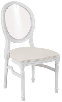 Flash Furniture HERCULES Series 900 lb. Capacity King Louis Chair with Transparent Back, White Vinyl Seat and White Frame
