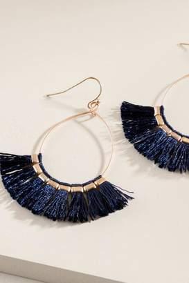 francesca's Kennedy Tassel Hoop Earrings - Navy
