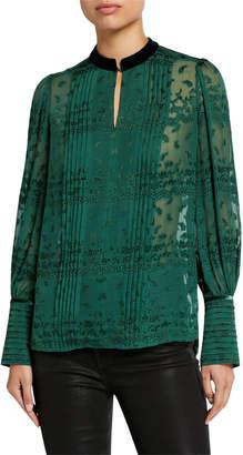 Elie Tahari Laci Embroidered Long-Sleeve Pintucked Blouse w/ Mandarin Collar