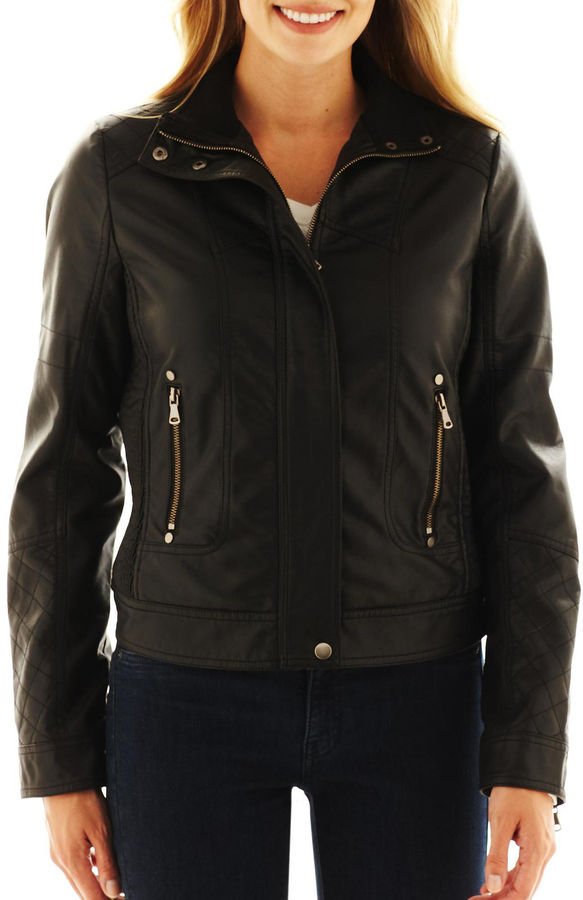 JCPenney A.N.A a.n.a Faux-Leather Moto Jacket