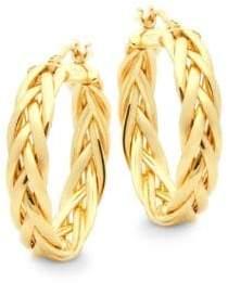 """Saks Fifth Avenue 14K Yellow Gold Braided Hoop Earrings/2.16"""""""