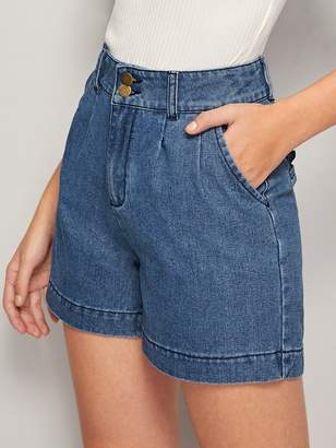 Shein Dark Wash Plicated Double Button Denim Shorts
