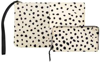 MAHI Leather - Matching Clutch & Purse Gift Set In Polka Dot Pony Hair Leather
