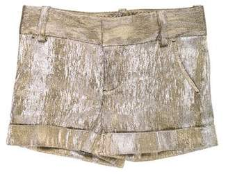 Alice + Olivia Mid-Rise Metallic Shorts