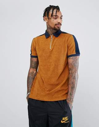 Asos Polo Shirt In Towelling With Contrast Panelling And Zip Neck