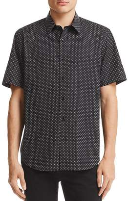 Theory Stitch Print Regular Fit Button-Down Shirt